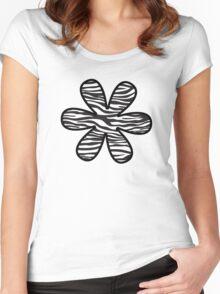 Flower, Animal Print, Zebra Stripes - Black White Women's Fitted Scoop T-Shirt