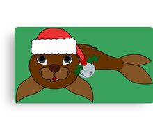 Brown Baby Seal with Santa Hat, Holly & Silver Bell Canvas Print