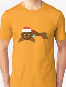 Brown Baby Seal with Santa Hat, Holly & Silver Bell T-Shirt