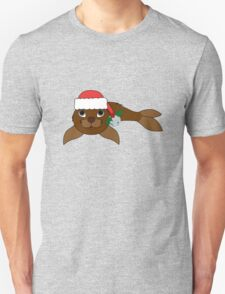 Brown Baby Seal with Santa Hat, Holly & Silver Bell Unisex T-Shirt