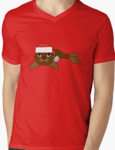 Brown Baby Seal with Santa Hat, Holly & Silver Bell Mens V-Neck T-Shirt