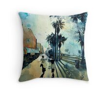 Early Morning on the Venice Boardwalk Throw Pillow