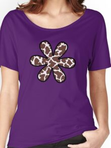 Flower, Animal Print (Giraffe Pattern) - Brown White  Women's Relaxed Fit T-Shirt