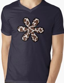 Flower, Animal Print (Giraffe Pattern) - Brown White  Mens V-Neck T-Shirt