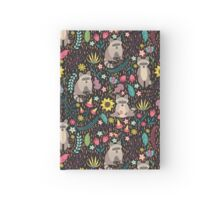 Raccoons bright pattern Hardcover Journal
