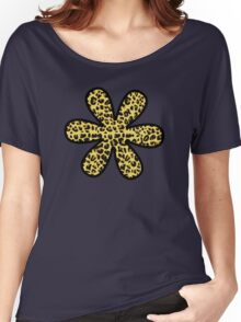 Flower, Animal Print, Spotted Leopard - Yellow Black  Women's Relaxed Fit T-Shirt