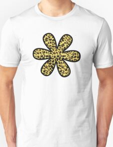 Flower, Animal Print, Spotted Leopard - Yellow Black  Unisex T-Shirt
