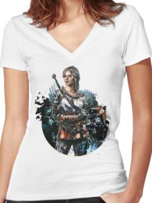 Ciri 2 - The Witcher Wild Hunt  Women's Fitted V-Neck T-Shirt