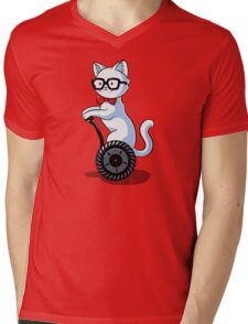 White and Nerdy Mens V-Neck T-Shirt
