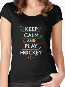 Keep Calm and Play Hockey - on dark   Women's Fitted Scoop T-Shirt
