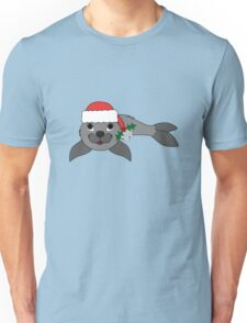 Gray Baby Seal with Santa Hat, Holly & Silver Bell Unisex T-Shirt