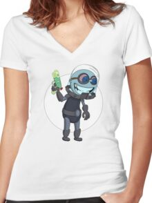 Mr Freeze heats things up Women's Fitted V-Neck T-Shirt