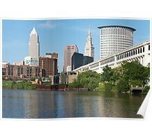Cleveland From The River Bank Poster