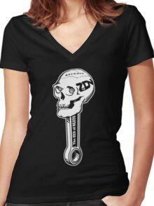 ZON Skull (white ink) Women's Fitted V-Neck T-Shirt
