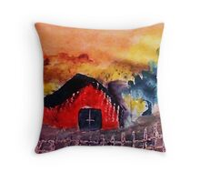 The barn might survivie  another  winter, watercolor Throw Pillow