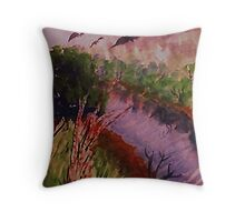Down by the stream, watercolor Throw Pillow