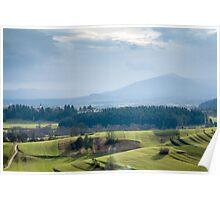 Morning light over karst fields Poster