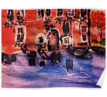 Gondolous waiting, watercolor Poster