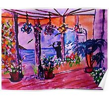 Sunny Patio with a view, watercolor Poster