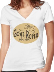 Goat Roper Women's Fitted V-Neck T-Shirt
