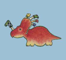 Orange Styracosaurus Derposaur with Socks One Piece - Short Sleeve