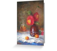 Red Flowers In A Vase Greeting Card