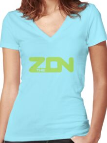 ZON classic (lime ink) Women's Fitted V-Neck T-Shirt