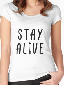 Stay Alive - Hunger Games (Black) Women's Fitted Scoop T-Shirt