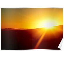 Sunset, Freeway and Power Lines Poster