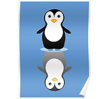 LONELY PENGUIN REFLECTING Poster