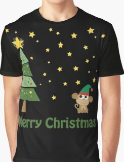 Merry Christmas Monkey Elf Graphic T-Shirt