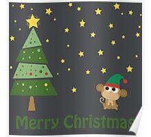 Merry Christmas Monkey Elf Poster
