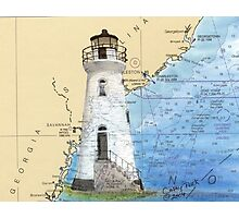 Cockspur Lighthouse GA Nautical Chart Cathy Peek Photographic Print