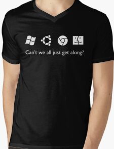 Get Along (B&W) Mens V-Neck T-Shirt