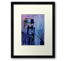Victorian Man on stairs, watercolor Framed Print