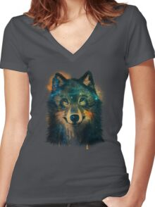 Galaxy Wolf Women's Fitted V-Neck T-Shirt