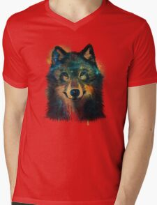Galaxy Wolf Mens V-Neck T-Shirt
