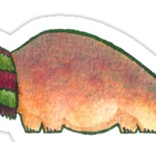 Peach Apatosaurus with Earmuffs Sticker