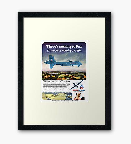 Obama Airways Drone Parody Poster Framed Print