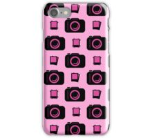 Retro Camera Pattern in Pink and Black iPhone Case/Skin
