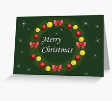 Christmas wreath with red and gold balls Greeting Card