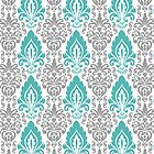 Gray, White and Blue Chic Damask Pattern by cikedo