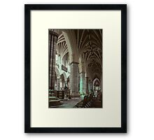 Baptistry font and south aisle Exeter Cathedral 198101140005  Framed Print