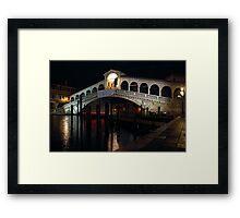 The Rialto Bridge in Venice by Night Framed Print