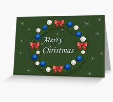 Christmas wreath with blue and silver balls Greeting Card
