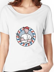 Barber With Scissors and Comb Cartoon Women's Relaxed Fit T-Shirt