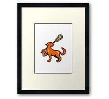 Dog With Lacrosse Stick Side View  Framed Print