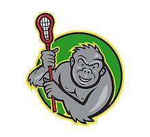 Gorilla Ape With Lacrosse Stick Cartoon by patrimonio