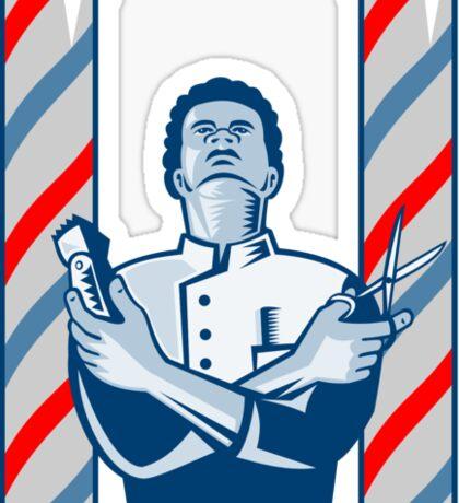 Barber With Pole Hair Clipper and Scissors Retro  Sticker