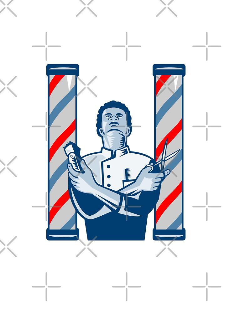 Barber With Pole Hair Clipper and Scissors Retro  by patrimonio